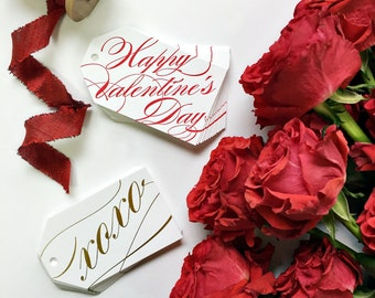 Happy Valentine's Day And X0X0 Boxed Letterpress Gift Tags Red and Gold Foil