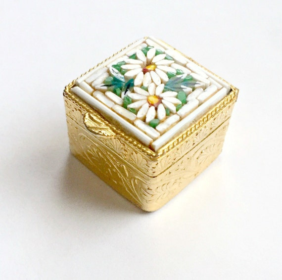 Micro Mosaic Ring Box, Micro Mosaic Pill Box, Italian Mosaic Ring Box, Daisy Flower Pill Ring Box, Italian Pill Box, Square Mosaic Pill Box