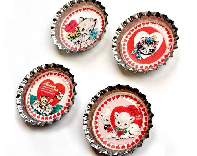 Cat Valentine Magnet Set, Bottle Cap Cat Valentine Magnet Set, Four Cat Magnets, 4 Cat Magnet Set, Red Pink White Cat Heart Magnet Set