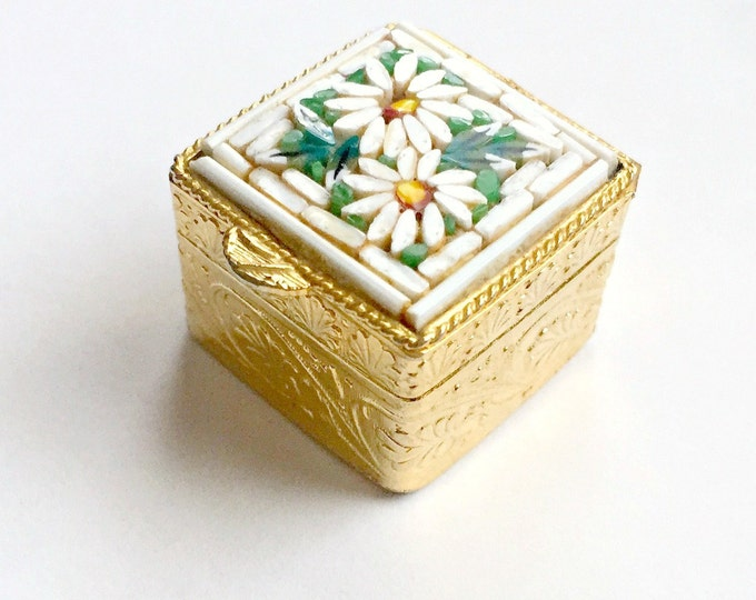 Micro Mosaic Ring Box, Micro Mosaic Pill Box, Italian Mosaic Ring Box, Daisy Flower Pill Ring Box, Italian Pill Box, Square Mosaic Pill Box