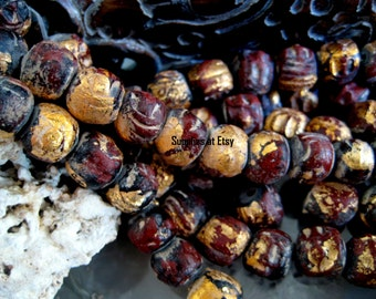 Special Sale Rustic Buddha Prayer Mala Beads-Handmade Raku pottery gold foil Terra Cotta Clay Gold Foil Beads-Greek Ceramic Gold Leaf Beads