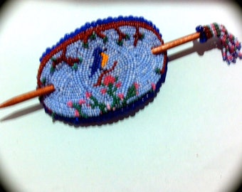 OOAK Bead Embroidered Bluebird  Barrette with beaded hair stick for Everyday Wear Hand Woven Beaded Boho  Ethnic Cottage Chic victorian
