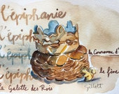 RESERVED FOR G Original watercolor L'Epiphanie with yellow squirrel #4
