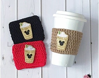 Coffee Cup Cozy. Disney Mickey Mouse Cozy. Mother's Day Gift. Father's Day Gift. Disney Birthday Party Favor. Gift for him. Gift for her.
