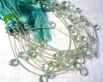 Fine Natural Aquamarine Blue Green Fluorite Briolette Beads, 10mm 11mm Beads , Natural Blue Green Gemstone