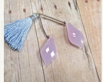 SALE 20% Off Rose Cut Briolette Beads Lavender Quartz 12mm x 28mm, Matched Pair Quartz
