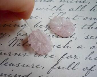 SALE 20% Off Carved Natural Rose Quartz Flower Briolette Beads , QTY2 Matched Pair, Natural Pink Quartz Gemstone , 15mm x 20mm Beads