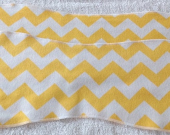 Yellow and White Chevron Flannel Burp Cloths - Set of 2