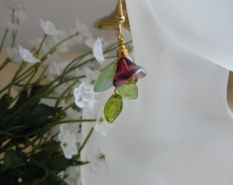 Handmade Earrings, Czech Glass Flower Earrings, Unique Handmade Jewelry, One of a Kind, Ready to Ship, A Gift for You,  Dangle Earrings