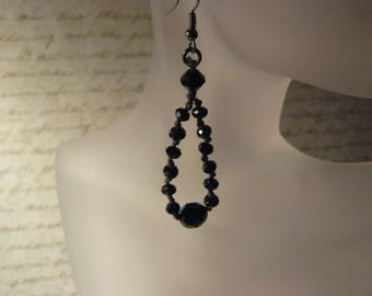 Victorian Earrings, Black Crystal Earrings, Unique Handmade, One of a Kind, Handmade Earrings, Victorian Jewelry, Unique Gifts,  For Her