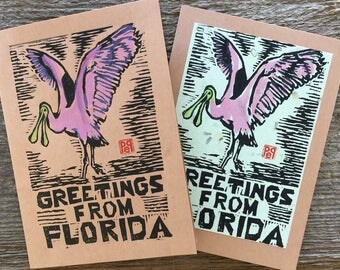 Florida Greetings Pink Spoonbill Bird Note Card linocut artist print on kraft or green paper