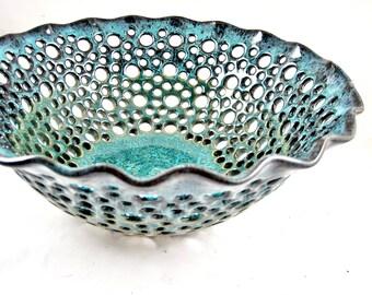 Pottery fruit bowl , Ceramic fruit bowl , modern home decor in Sea foam green, Sea foam green ceramic art piece - In stock 76 FB E