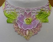 Hand dyed applique necklace - ONE OF A KIND -pastel lilac flower
