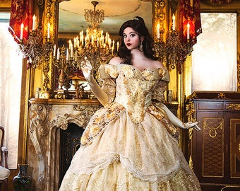 Custom Belle Upscale Adult Fantasy Sparkle Deluxe Gown with Flowers