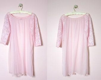 1960s Sears Pink Chiffon Bed Coat Peignoir M