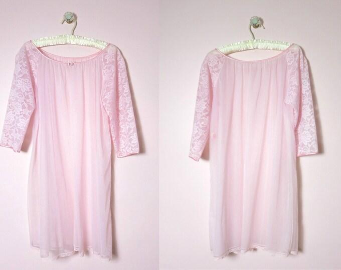 Vintage Pink Peignor | 1960s Sears Pink Chiffon Bed Coat Peignoir M | Pink Lingerie