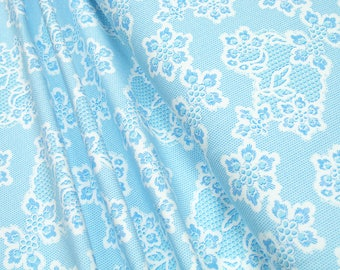 Jersey Flowers bright blue on white Cotton Jersey Knit Fabric 0.54yd (0,5m) 003289