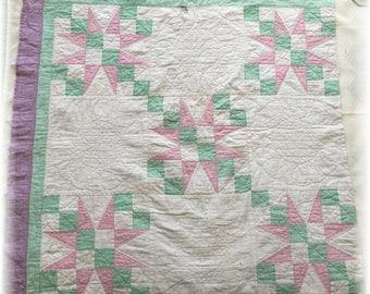 "Pastel Star Quilt Piece Spring Farmhouse 36"" x 36"" Shabby Craft Supplies"