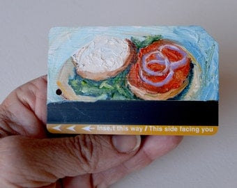 Art Oil Painting New York City Bagel with Lox and Cream Cheese on Recycled NYC Subway Card