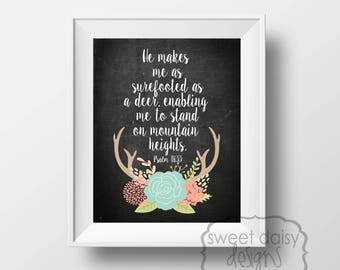 Psalms 18:33, Quotes, Deer, Digital File, PRINTABLE, Inspirational Quotes, Printable Artwork, Typography, Scriptures, Stand on Mountain