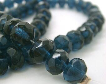 czech glass donut rondelle 6x4 mm montana blue beads, 2 strands of 58 beads each, destash beads