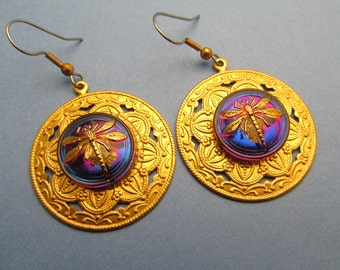 Dragonfly earrings gold earrings Czech Buttons Dragonfly earrings Chandelier earrings Cobalt Blue silver Iridescent Dragonfly