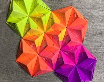 Handmade Japanese Origami Wall Art, Modular, Geometric, Asian, Paper, Folded Paper, Wall Decor, Gift, Texture, Geometry, Art, Decor, Folded