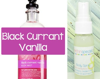 Black Currant Vanilla Body Spray, Room Spray, Aromatherapy Sensual, Black Currant, Lemon, Rosemary, Pumpkin, Vanilla, Patchouli