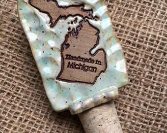 Wine Topper -Handmade in Michigan - Ocean