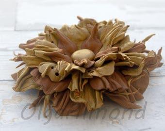 Leather flower. Leather brooch Flower brooch .Fantasy Leather jewelry