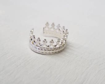 Princess Crown Ear Cuff Sterling Silver