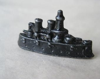 Ship Black Board Game Marker Place Holder Enamel Metal Vintage Boat