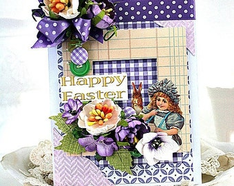 victorian easter card-BUNNY RABBIT and GIRL-happy easter greeting