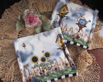 Treat Yourself...Set Two Pot Holders, Bird House Fabric,Debbie Mumm