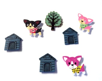 7 Dogs and Dog Houses Upcycled Button Magnets, Bandana Dogs Magnets, Home decor