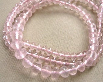 Rose Quartz Gemstone Faceted Rondelle Beads 3.5 to 5.5mm - Half Strand 8 1/4 inches