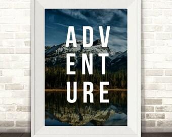 Adventure Print, Photographic Mountains Print, Boys Nursery Print, Mountain Print