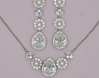 Bridal Jewelry Set, Crystal  Jewelry Sets, Pearls Wedding Jewelry Set, Bridesmaids Jewelry, Swarovski Necklace and Earrings Set