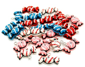 Vintage 80's Candy Charms with Striped Wrappers and Rhinestone Accents - 24 Pieces - Blue, Pink, Red, and White - Kawaii, Candies, Snacks