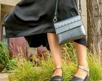 Silver Malachite Crossbody Bag | Silver Handbag | Vegan | Made in USA