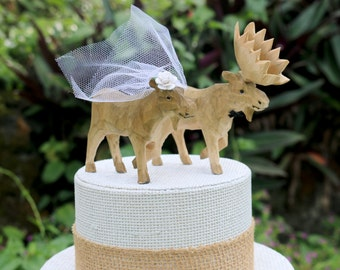 NEW! Handcarved Moose Wedding Cake Topper: Wooden Bride and Groom Cake Topper
