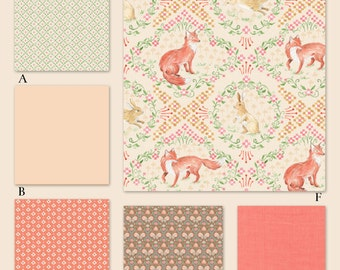 Peach, Coral and Mint Woodland Custom Crib Baby Bedding Set  YOU DESIGN - Wildwood in Peach
