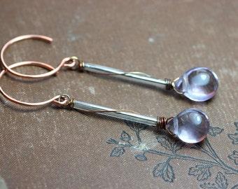 Lavender Fluorite Earrings Gemstone Briolette Long Earrings Copper Hoops Luxe Rustic Jewelry