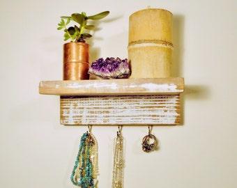 Jewelry Organizer Reclaimed Wood Floating Shelf Jewelry Hooks Necklace Organizer Jewelry Display Shabby Chic Jewelry Wall Organizer Rustic