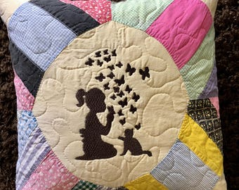 "Vintage Quilt  BUTTERFLY KISSES  14"" Pillow . . . Soft  Butter  Yellow Focal  Fabric . . . Embroidery Design . . . Wonderful Vintage Fabrics"