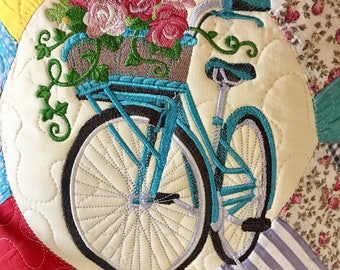 Quilted BICYCLE Pillow . . . Life is a Beautiful Ride . . . Recycled Vintsge Quilt . . .Embroidered  BICYCLE and ROSES