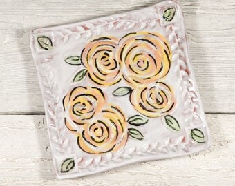 Sweet Tray with Hand Painted Roses in Yellow