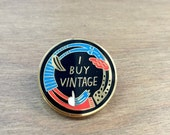 THANKS flash sale // I Buy Vintage enamel lapel pin / eco recycled fashion statement