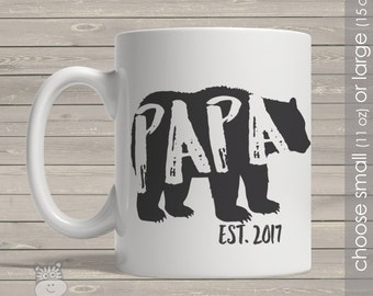 Coffee mug papa bear papa established any year personalized mug CMpB