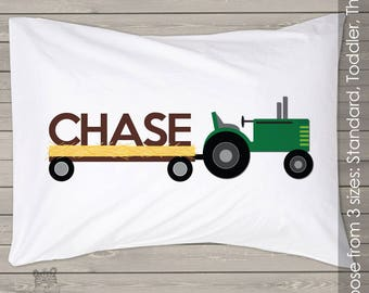 Personalized tractor pillowcase / pillow in 3 sizes -  custom pillowcase great birthday gift PIL-074
